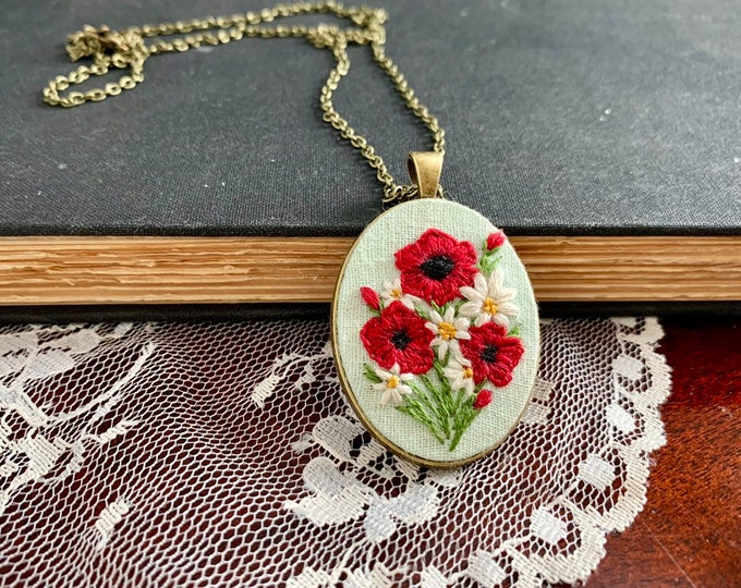 Hand Embroidered Wildflower Poppy Pendant Necklace