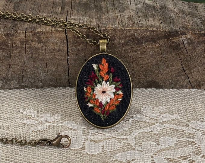 READY TO SHIP Hand Embroidered Wildflower Pendant Necklace
