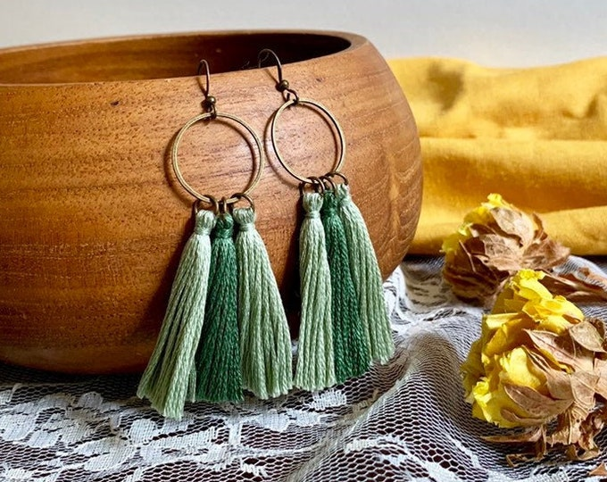 Handmade ombré tassel earrings, bronze, green ombré
