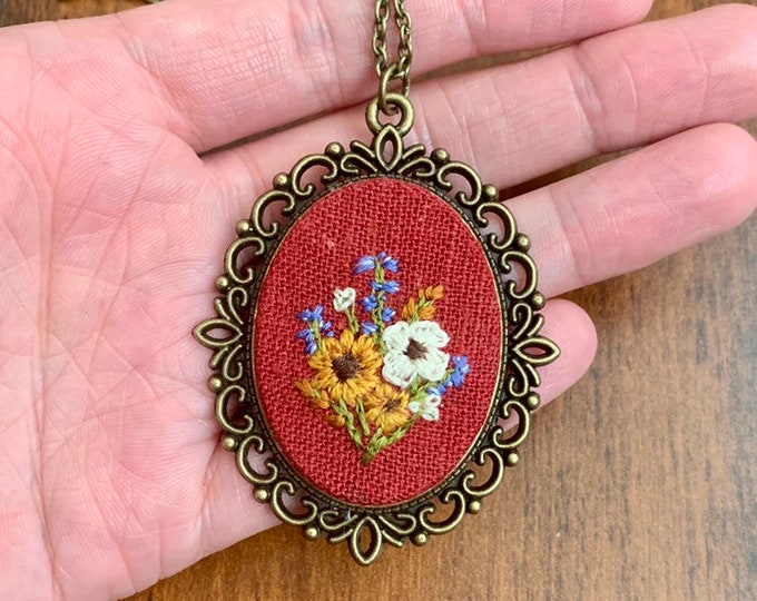 Hand Embroidered Wildflower Pendant Necklace, sunflower