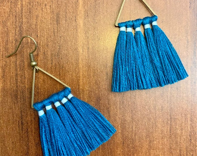 Handmade Geometric Tassel Earrings, Triangle