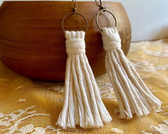 Handmade Macrame Earrings, tassels