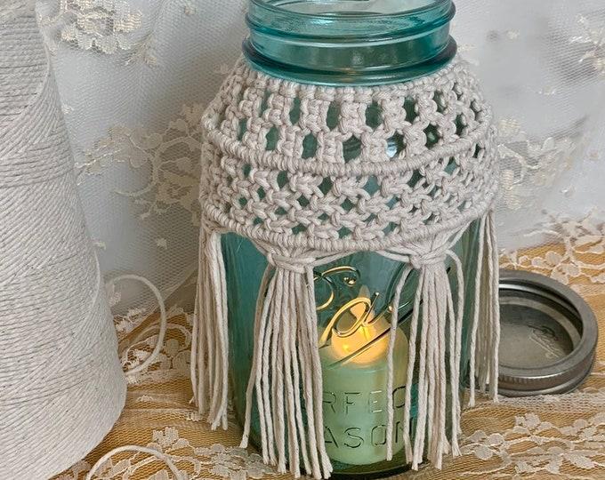 Handmade Macrame Mason Jar Cover