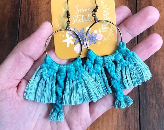 Handmade Macrame Earrings, teal