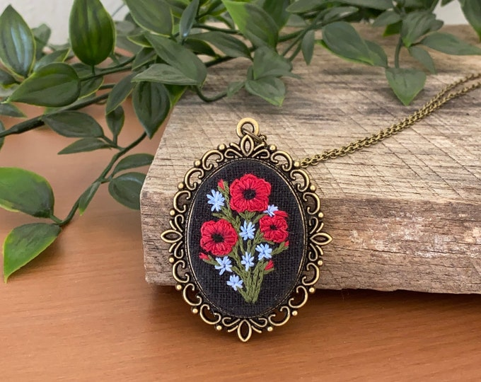Hand Embroidered Poppy Pendant Necklace