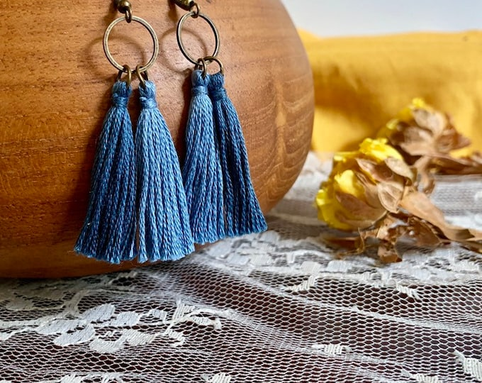 Handmade ombré tassel earrings, blue, round, bronze