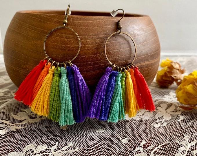 Handmade PRIDE rainbow tassel earrings, bronze,