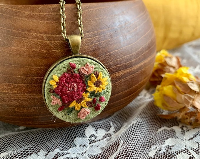 Hand Embroidered Sunflower Pendant Necklace