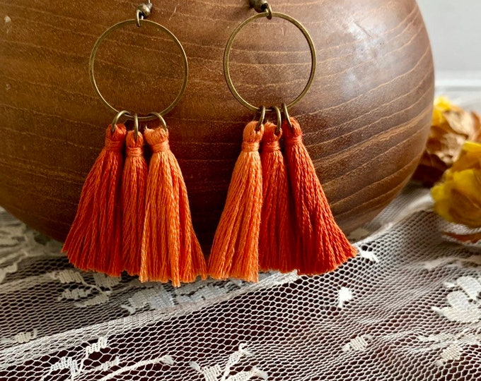 Handmade ombré tassel earrings, bronze, peach/orange ombré