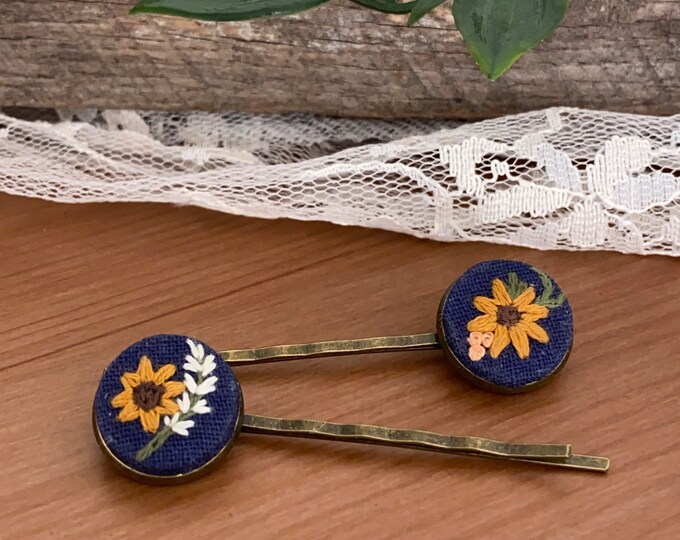 Hand Embroidered Hair Pins, sunflowers