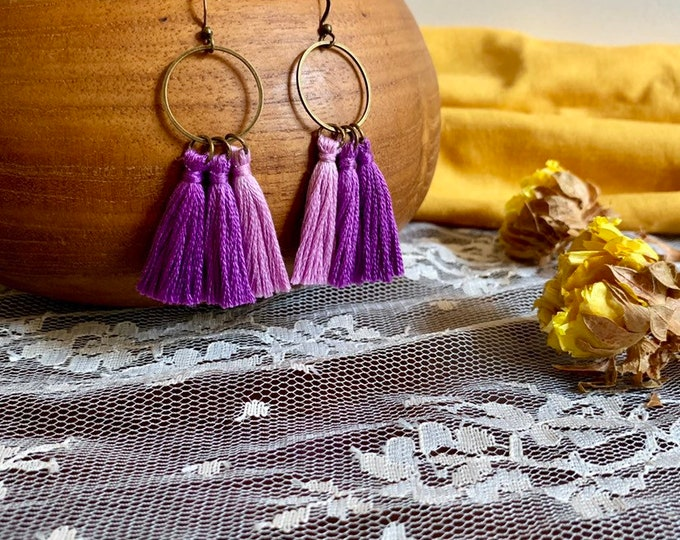 Handmade ombré tassel earrings, bronze, purple ombré