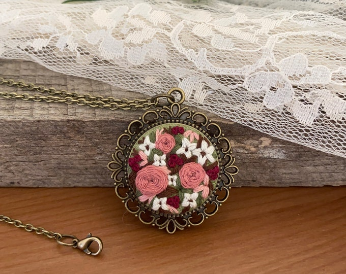 Hand Embroidered Wildflower Pendant Necklace