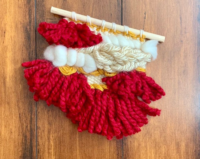 Hand woven wool wall hanging, Harry Potter Gryffindor inspired