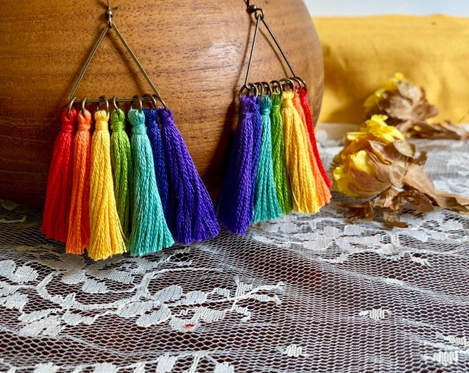 Handmade PRIDE rainbow tassel earrings, triangle, bronze, geometric