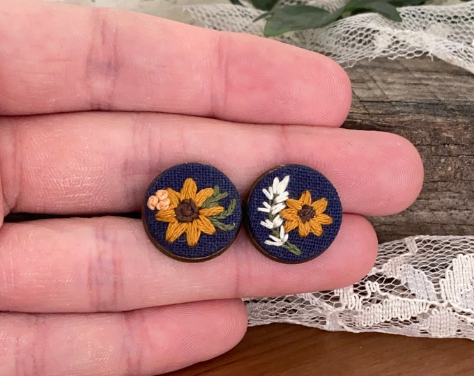 Hand Embroidered Earrings, sunflower