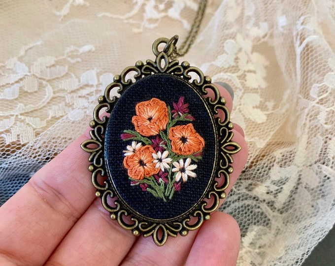 Hand Embroidered Autumn Wildflower Pendant Necklace