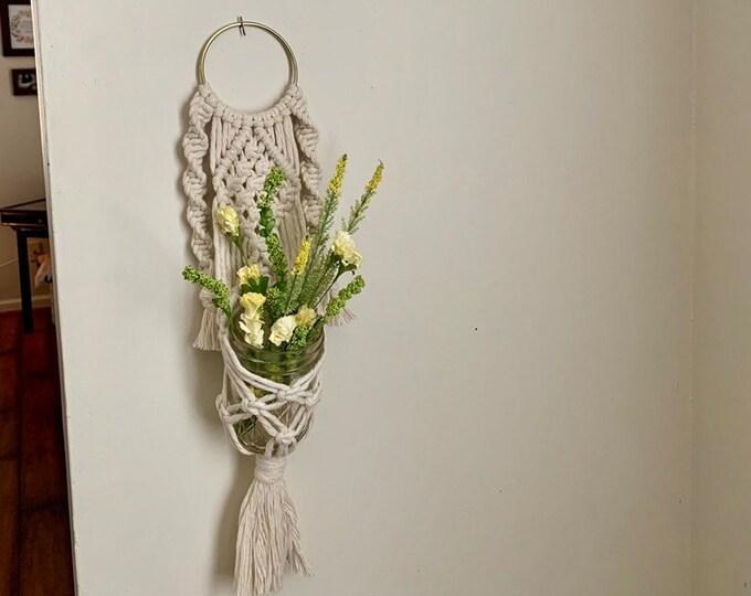 Macrame plant hanger, wall art, small
