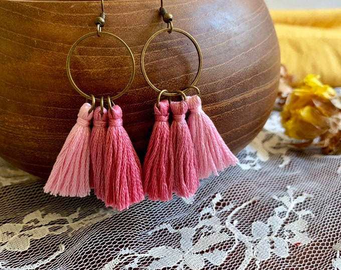 Handmade ombré tassel earrings, bronze, pink ombré