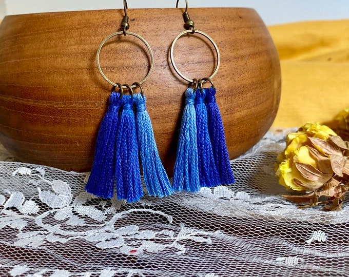 Handmade ombré tassel earrings, bronze, blue ombré
