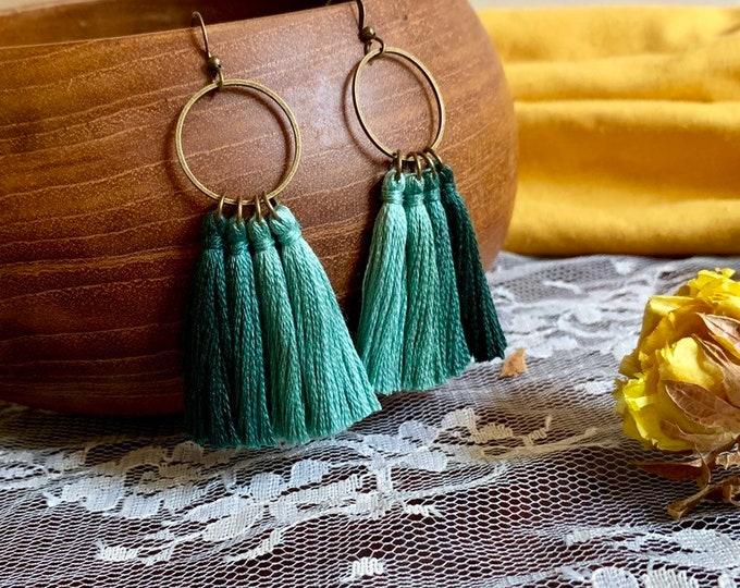 Handmade ombré tassel earrings, bronze, green ombré