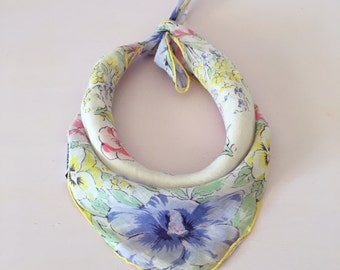 """Yellow Pastel Florals Vintage Dog Bandana -- Fits up to a 12"""" Neck"""