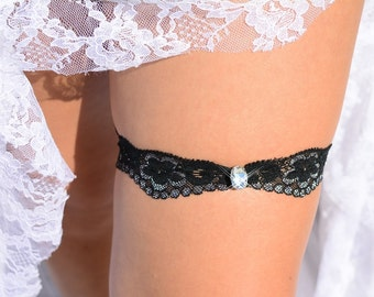1 Single Crystal Black Wedding Garter, Toss Lace Bridal Garter Rhinestone Garter Black Bridal Garter, Handmade Garters Keepsak Garter Silver