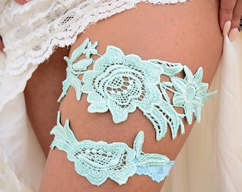 Mint Lace Garter,Lace Bridal Garter, Lace Wedding Garter, Mint Garter, Wedding Garter, Lace Garter Set, Handmade Garter, Wedding Garter Set