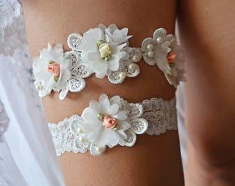 Bridal Garter, Wedding Garter, Lace Garter Set, Ivory Garter, Wedding Garter Set, Ivory Garter Set, Lace Garter, Bridal Lace Garter, Garter