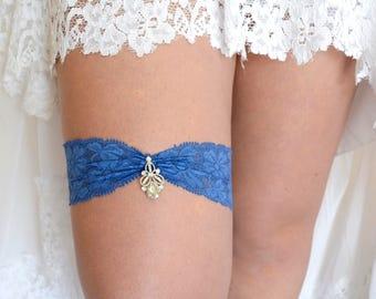 Navy Blue Wedding Garter Set  Belt, Lace Garter Navy, Rhinestones Garter, Brides Garter Blue, Toss Garter Blue, Bridal Garter Set, Plus Size
