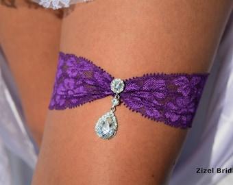 Wedding Garter Set, Garter Purple, Wedding Garter Belt, Wedding Garters, Stretch Lace Garter, Crystal Rhinestone, Garter Set, Purple Wedding