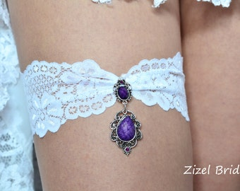 Purple Bridal Garter, White Lace Garter, Purple Garte Set, Garter Set, Wedding Garter Set, Purple Garter Set,Toss Garter, Handmede Garter