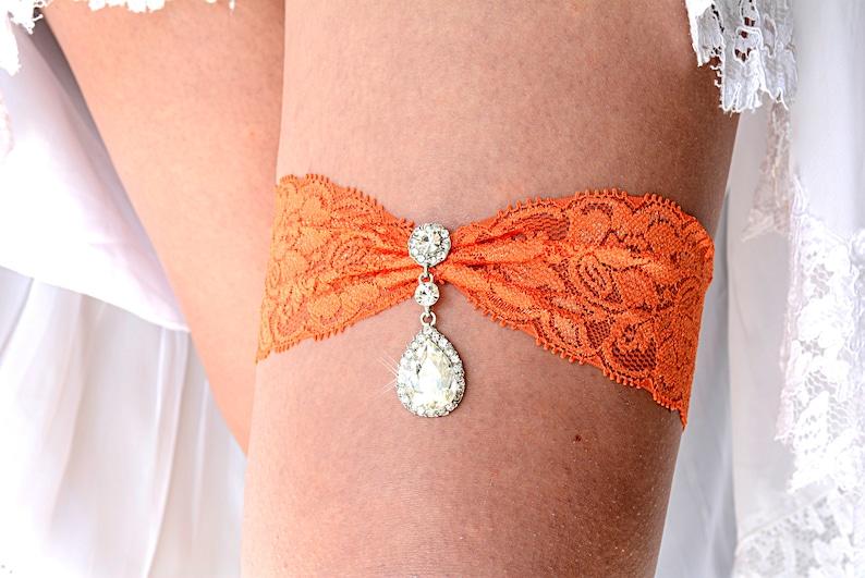 a467331c2 Orange Garter Set Lace Garter Orange Rhinestone Garter
