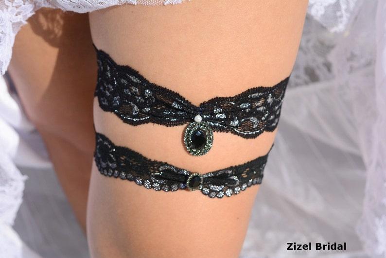 Garter Set Black Lace Garters Bridal Black Goth Rhinestone Garter Bridal Handmade Black Garter Set Elegant Garter Black Silver Toss Garter