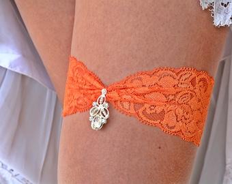 Orange Garter Set, Lace Garter Orange, Rhinestone Garter, Brides Garter Set, Garter Belt, Retro Garter, Garter Set Wedding, Bridal Jewelry