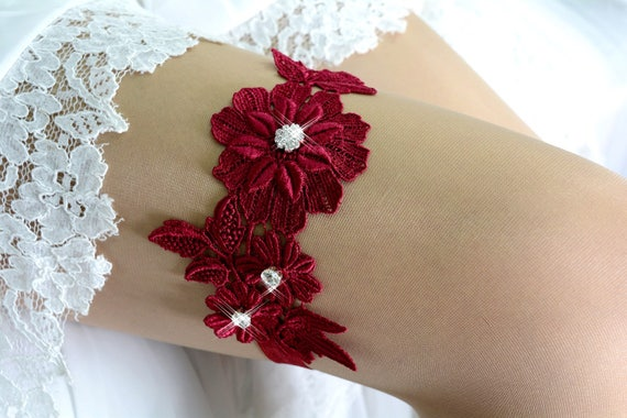 Laced Valentines Gift Wine Red Garters Bridal Crystal Elastic Lace Garter For Women Rhinestone Bridal Red Lace Garters Wedding Pluse Size