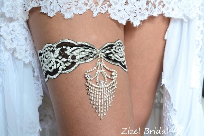 Black Grey Jewelry Garter Set Wedding Stretch Lace Bridal image 0