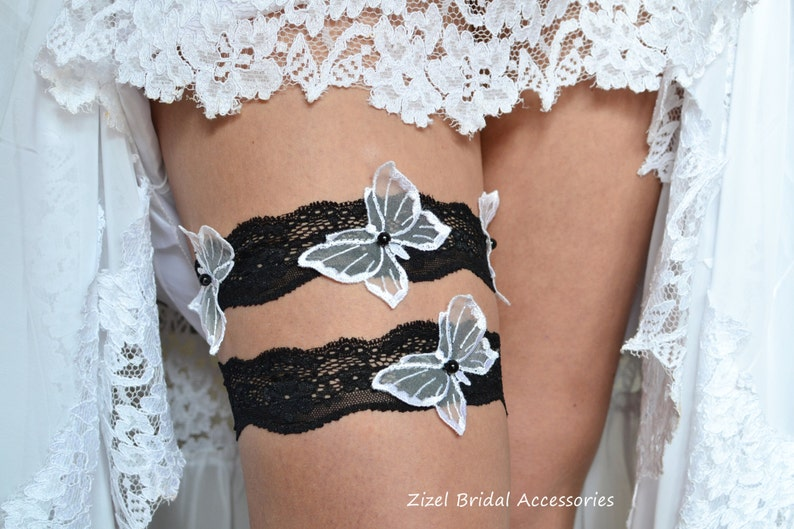 Handmade Garter Butterflies  Garter Wedding Garter Set Wedding Garters Bridal Garter Set,White Wedding Garter Black Lace Garte Garter