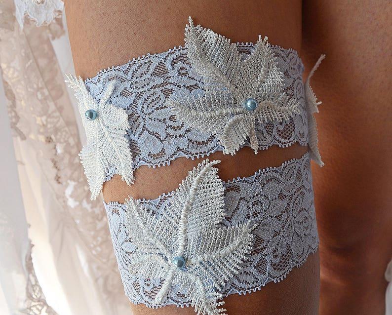 Leaf Blue Garter Light Blue Garter Lace Garter Blue Bridal Garter Set Garter Blue White Wedding Set Bridal Garter Blue Bridal Lace Garter