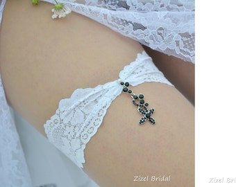 White Black Rhinestone Wedding Garter Set Wedding Clothing, Lace Garte Set Bridal Garter, White Bridal Garter Set, Toss Garter Black Crystal