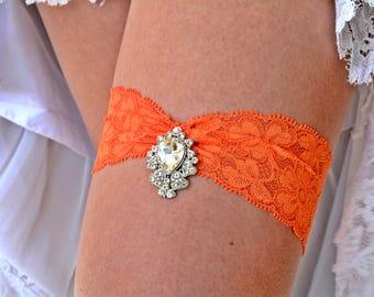 Wedding Garter Set, Orange Lace Garter, Rhinestone Garter, Brides Garter Set, Garter Belt, Orange Garter, Garter Set Wedding, Bridal Jewelry