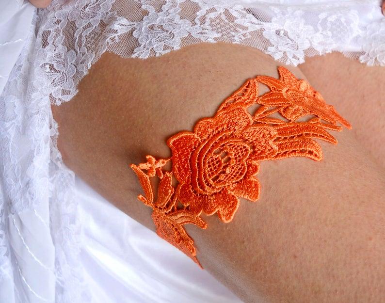 Garters Orange For Wedding Wedding Garter Belt Wedding Orange Lingerie Set Wedding Clothing Orange Gifts Wedding Lace Orange Garter Set