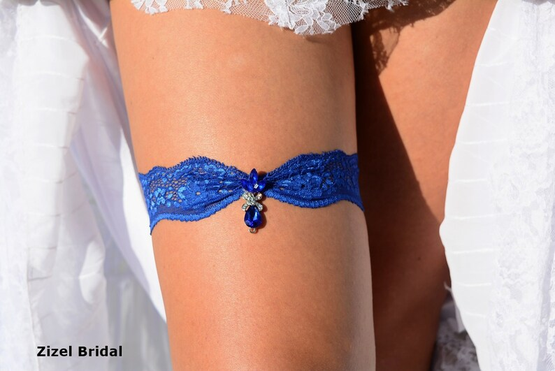 Royal Blue Wedding Garters Sets Wedding Garter Set Rhinestone Garters Something Blue Bride Gift Blue Lace Bridal Garter Blue Garter Set