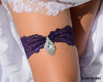 Lace Wedding Garter, Rhinestone Garter,  Lace Garte Set, Purple Bridal Garter, Purple Garter, lingerie Garter, Purple Wedding, Garter Set