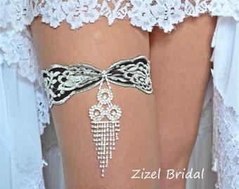 Black-Grey Stretch Lace Bridal Garter Set For Wedding, Rhinestone Fantasy Garter Black Wedding Garter,Handmade Black Grey Wedding Garter Set