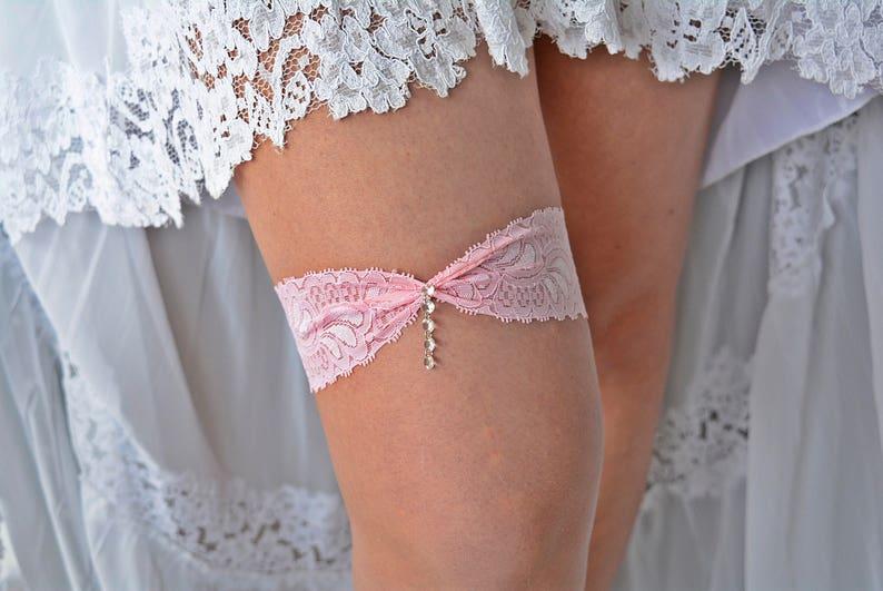 Rhinestone Garter Set Pink Wedding Garter Wedding Garter Lace Wedding Garter Belt Pink Lace Garter Set Pink Toss Garter Bridal Garter Set