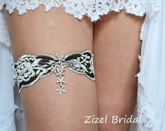Black Grey Elastic Lace Garter Set, Grey Wedding Lace Garter, Bridal Rhinestone Garter Black Wedding Toss Garter, Black Bridal Garter Silver