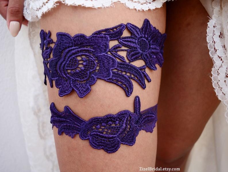 1a2be2527f8 Purple Garter Wedding Garter Lace Wedding Garter Dark