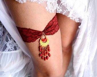 Bohemian Wedding, Rhinestone Garter, Brides Garter Set, Garter, Burgundy Garter, Retro Garter, Garter Wine, Lace Garter Set, Bridal Jewelry