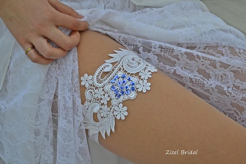Wedding Blue Sequins Set Of Garter White Wedding Garter Set Belt Bridal Garter Sequins Bride Accessories Blue White Lace Handmade Garters