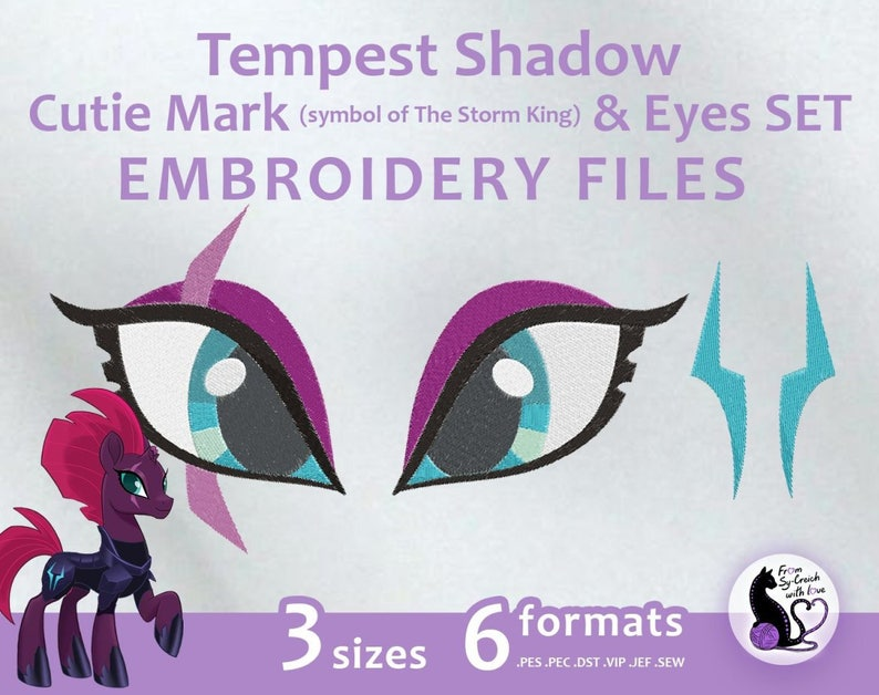 Tempest Shadow Cutie Mark Eyes Set Embroidery Machine Etsy